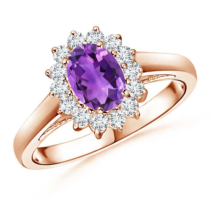 Angara Oval Amethyst Ring with Diamond Band Set in Yellow Gold 6mcPiaToK
