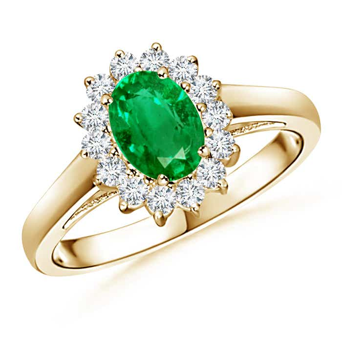 Angara Emerald Ring - GIA Certified Emerald Triple Shank Floral Halo Ring acM7l3j
