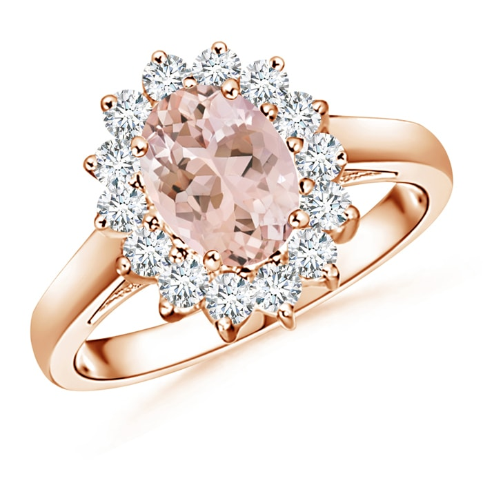 Princess Diana Inspired Morganite Ring With Diamond Halo Angara
