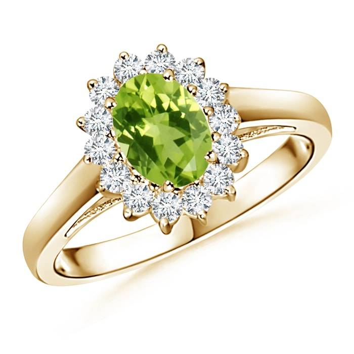 Angara Oval Peridot and Diamond Floral Vintage Ring eToW4h