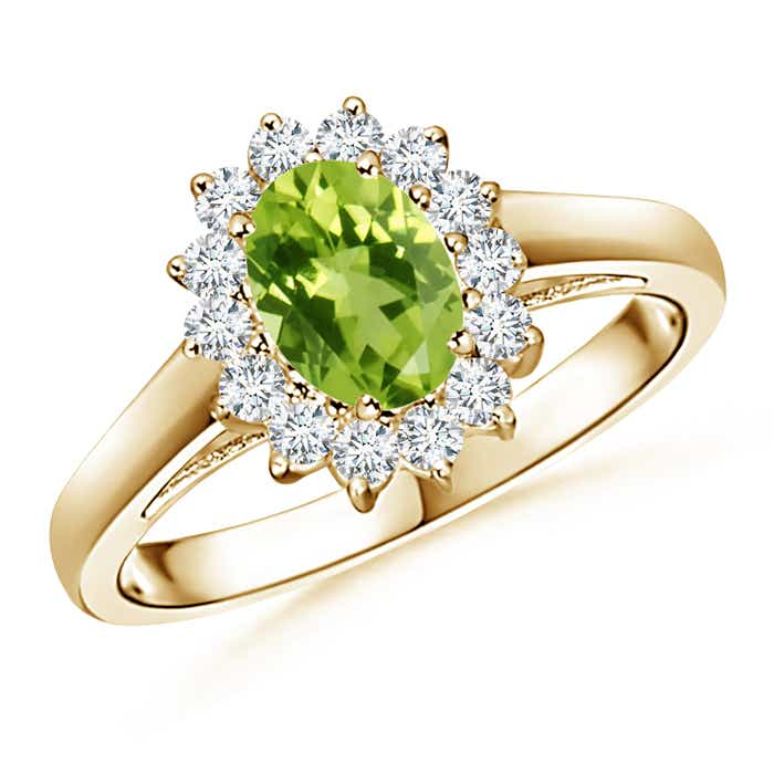 Angara Vintage Diamond Floral Halo Oval Peridot Cocktail Ring in Yellow Gold VRrtWAPO