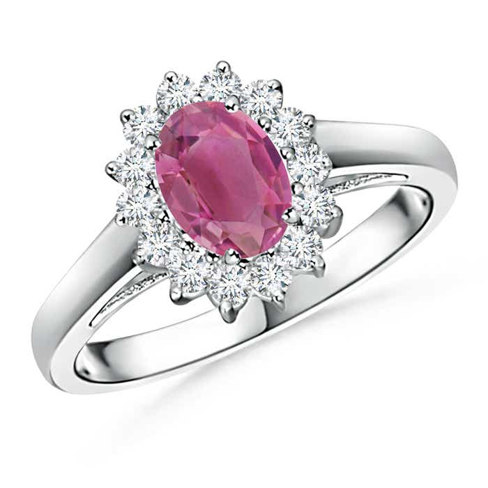 Angara Oval Pink Tourmaline Diamond Halo Engagement Ring in Rose Gold sX8VjZntp
