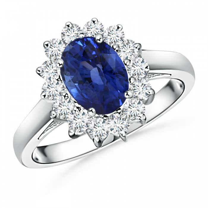Angara Sapphire Ring - GIA Certified Oval Sapphire Solitaire Ring with Diamonds LGLogF1F