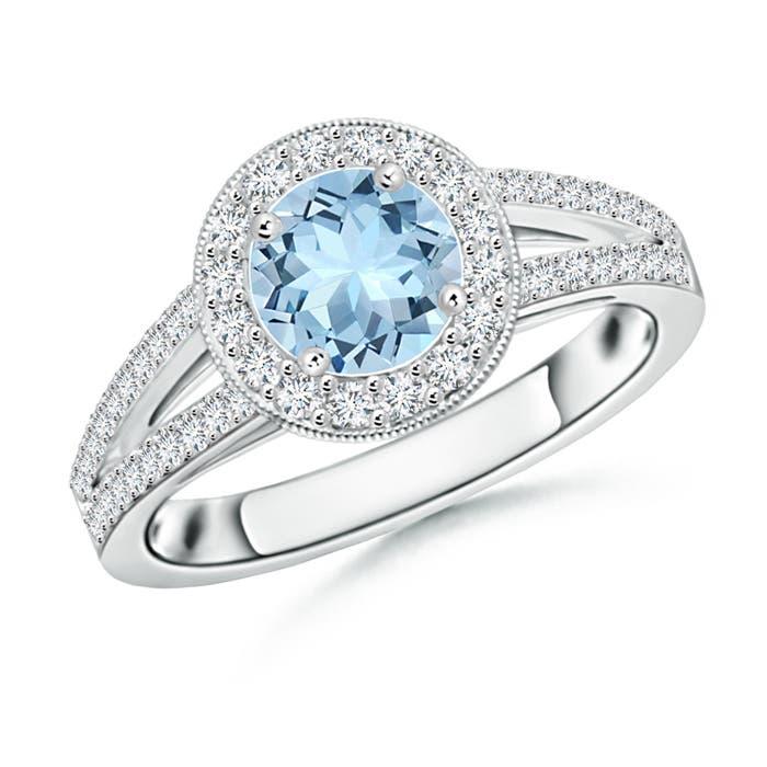 Angara Cushion Aquamarine and Round Diamond Split Shank Ring obVrBOulK