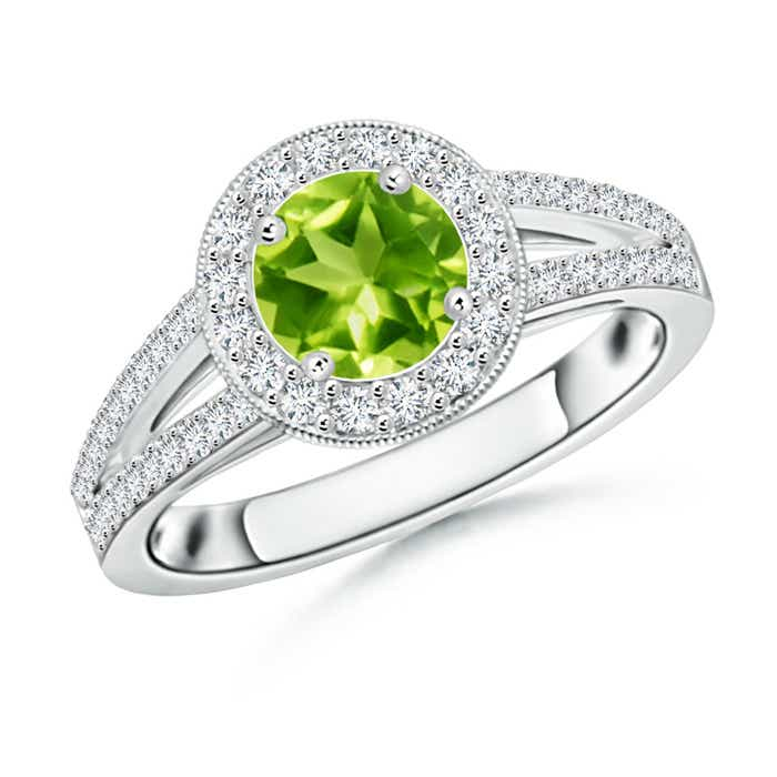 Angara Round Peridot Split Shank Ring with Diamond Halo 23dTPKr
