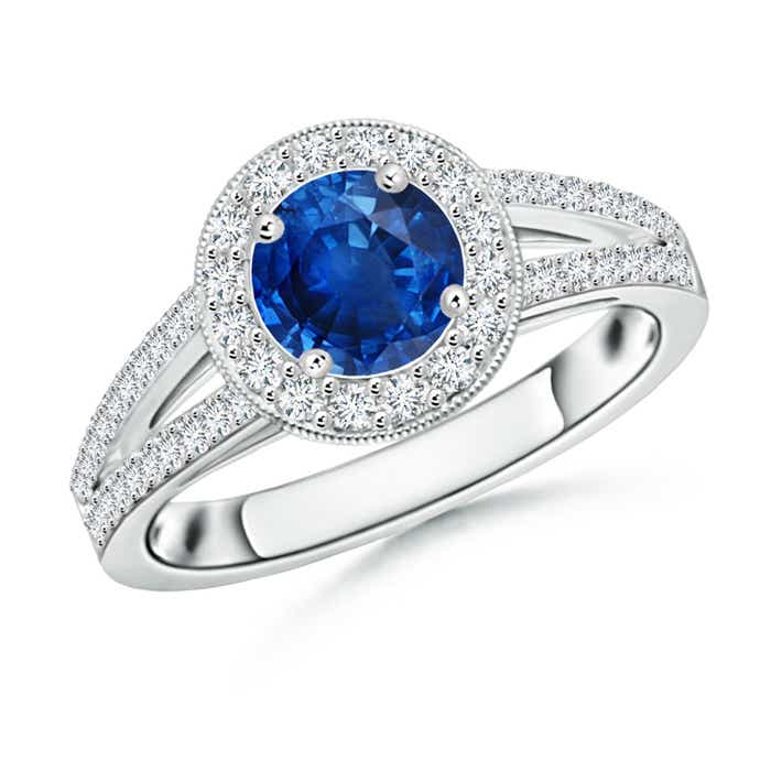Angara Blue Sapphire and Diamond Halo Ring in Yellow Gold hEfQpnB