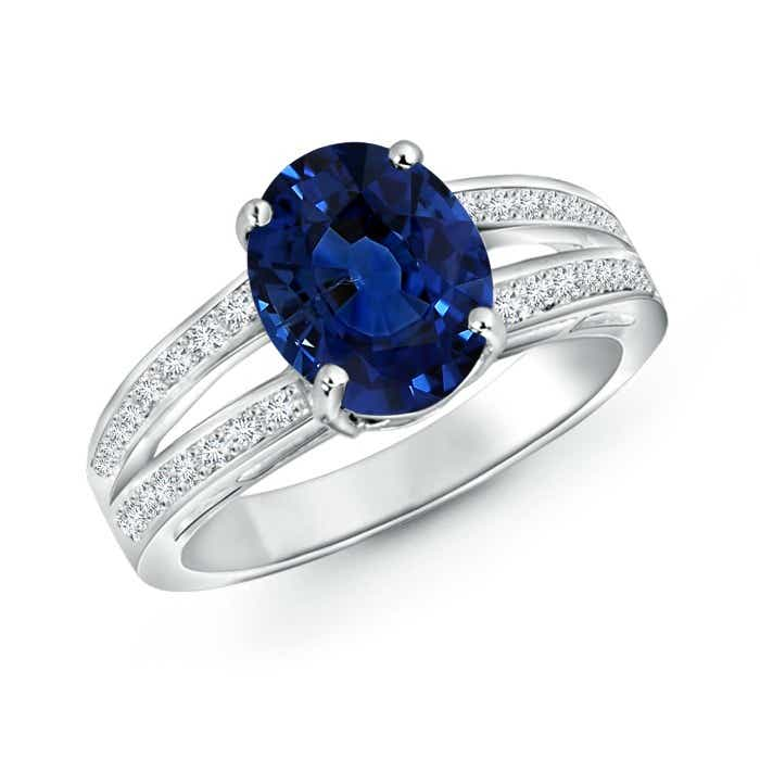Angara Triple Shank Oval Tanzanite and Diamond Halo Ring in Platinum