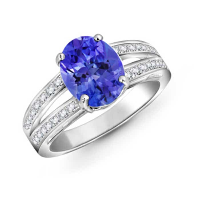 Angara Oval Tanzanite Solitaire Ring with Pave Diamonds in 14K White Gold beitG5mC