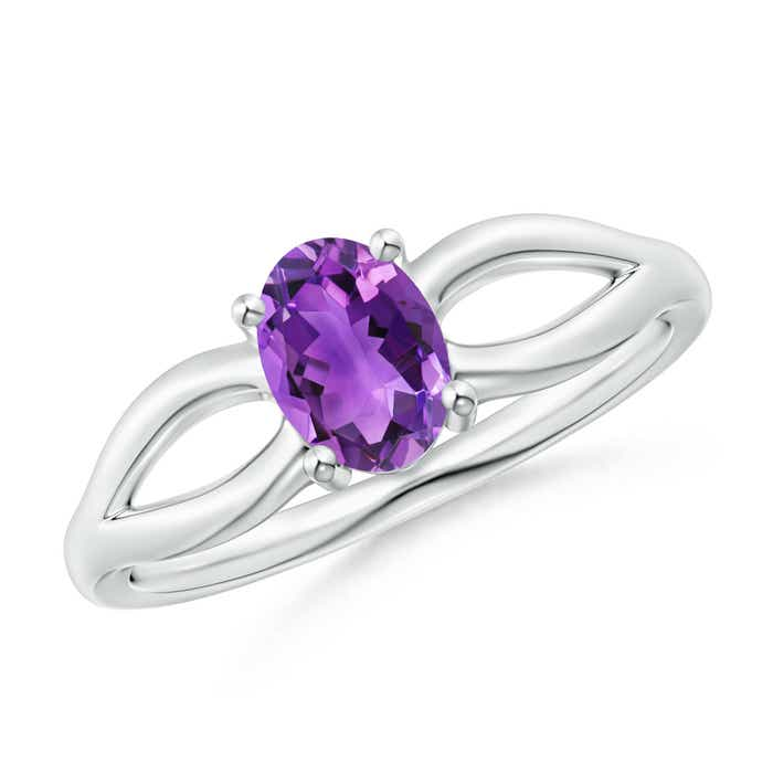 Angara Tapered Shank Amethyst Solitaire Ring with Diamond Accents aoFe0e9