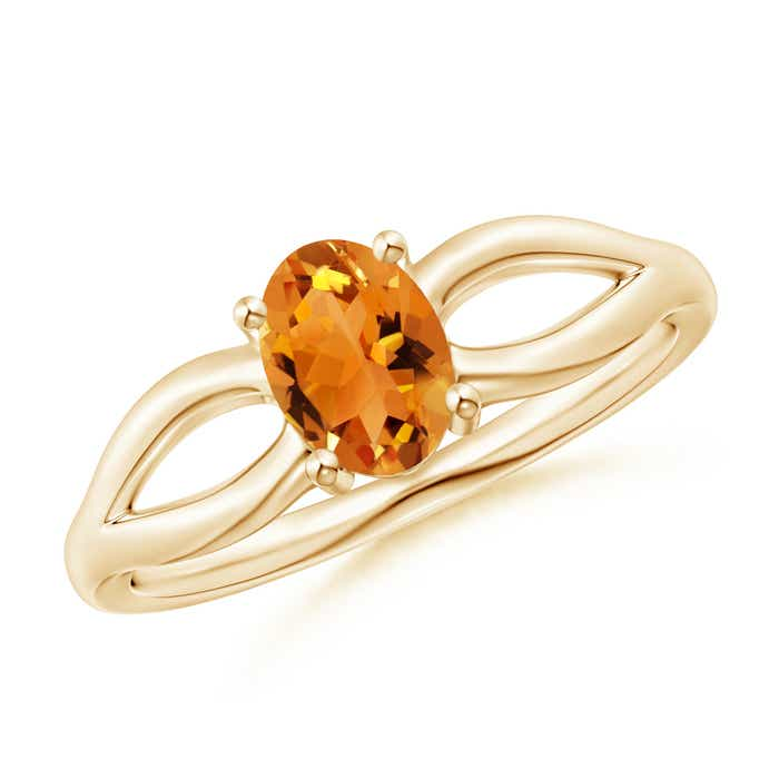 Angara Oval Citrine Split Shank Ring with Diamond Accents C8MsB