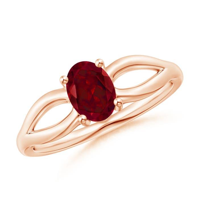 Angara Split Shank Garnet Ring in Rose Gold vrnTmPH