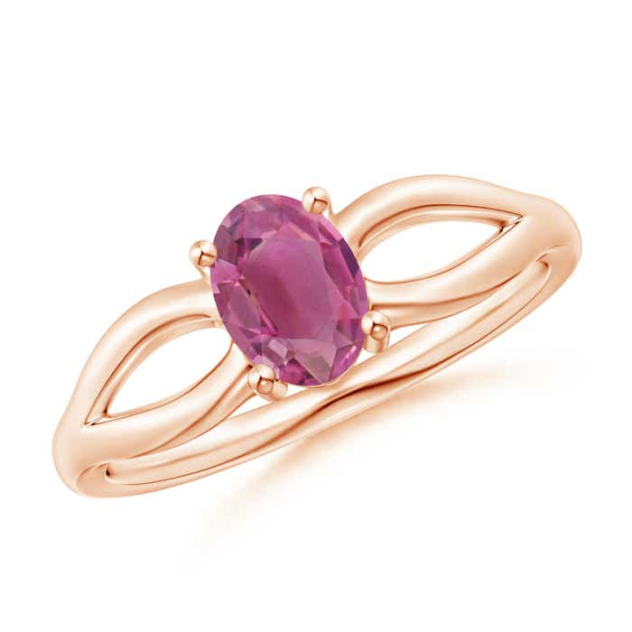 Angara Solitaire Oval Pink Tourmaline Trio Diamond Ring in Yellow Gold AkgvHzmRf