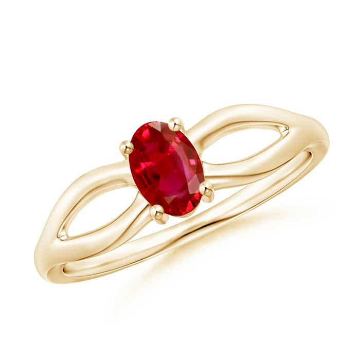 Angara Classic Diamond Halo Ruby Split Shank Ring in 14k Yellow Gold V4wxqM