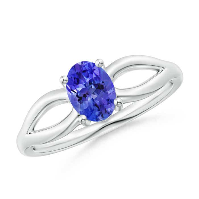 Angara Solitaire Tanzanite Split Shank Ring with Diamond in Yellow Gold l4nKVLKy