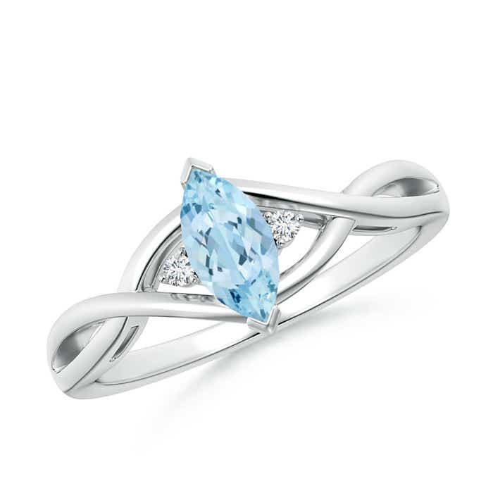 Angara Square Aquamarine and Princess Diamond Three Stone Ring ZuEjhut