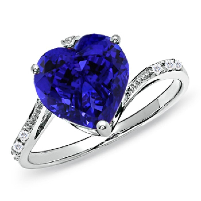 Angara Tanzanite Ring - GIA Certified Heart Tanzanite Solitaire Bypass Ring ZXhAq
