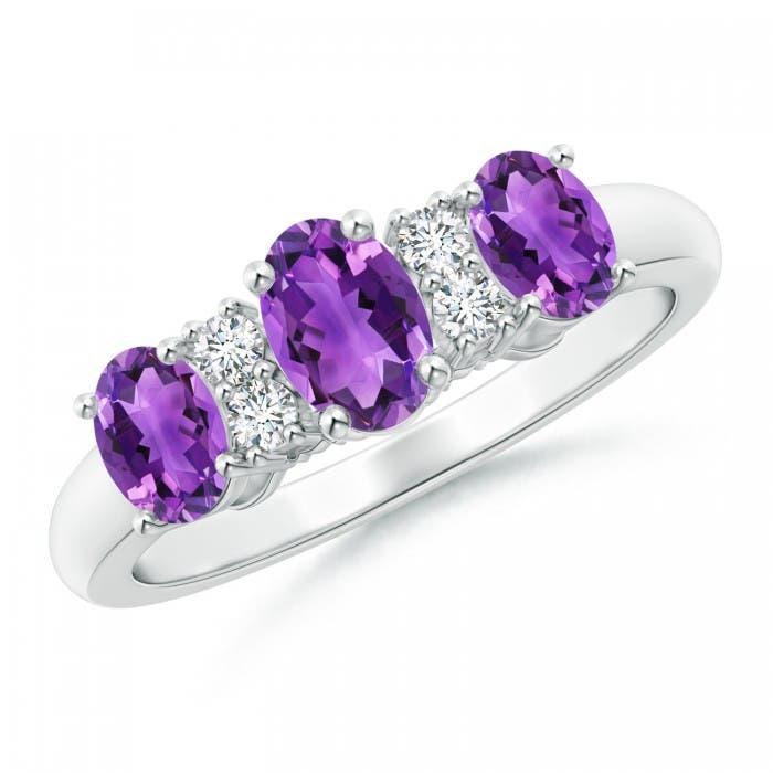 Angara Oval Three Stone Amethyst Engagement Ring with Diamonds rrnlsmm
