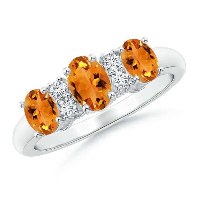 Angara Three Stone Oval Citrine and Half Moon Diamond Ring in Platinum uNarmM