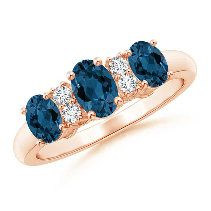 Angara Oval London Blue Topaz Three Stone Bypass Ring with Diamonds