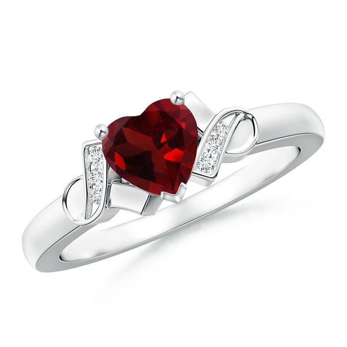 Angara Solitaire Garnet Heart Ring with Diamond Accents Xe0UA