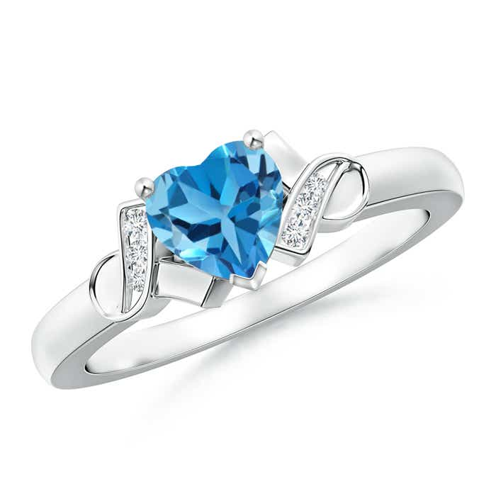 Angara Swiss Blue Topaz Heart Ring with Diamond Accents in Yellow Gold 5RgJBC6Q