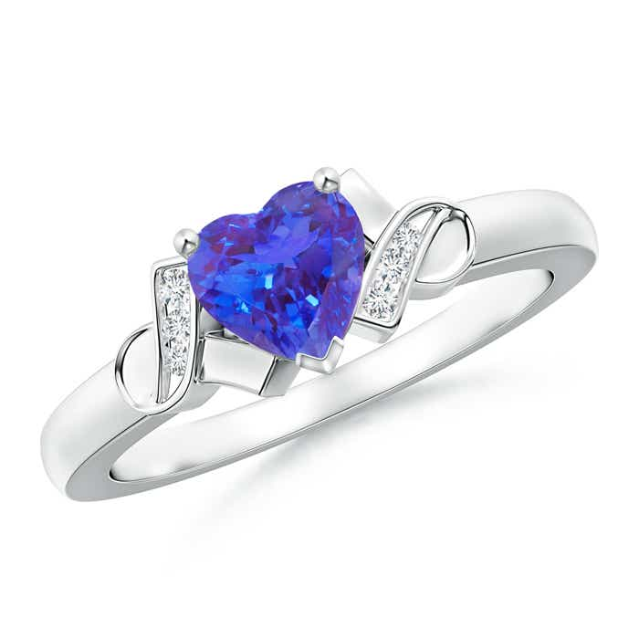 Angara Solitaire Bezel Heart Tanzanite Ring with Diamond in Yellow Gold OyQkm0r