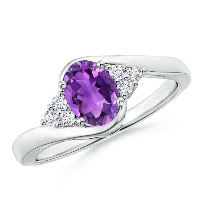Angara Prong Set Amethyst Bypass Ring with Diamond Accents OG8Z2LSBj