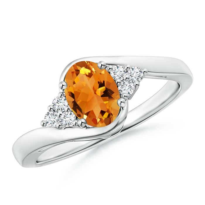 Angara Oval Citrine Bypass Ring with Trio Diamond Accents in 14K Yellow Gold