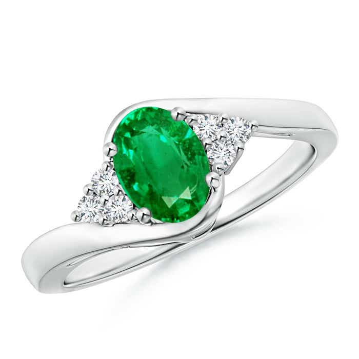 Angara Solitaire Oval Emerald Ring with Trio Diamond Accents in Yellow Gold 9L9W6Yuh