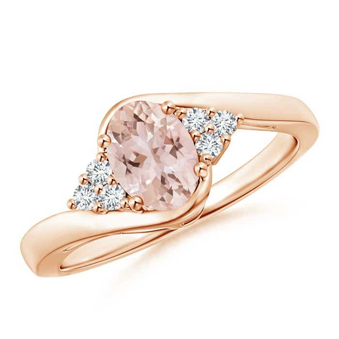Angara Oval Morganite Bypass Ring with Trio Diamond Accents dOmTpQRQ