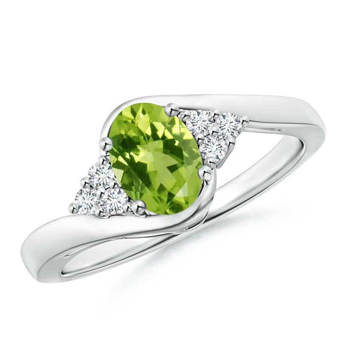 Angara Solitaire Oval Peridot Bypass Ring with Diamond Accents p0RSvMg