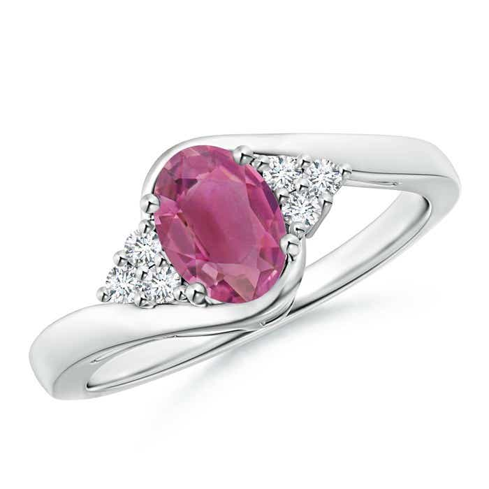 Angara Oval Pink Tourmaline Three Stone Bypass Ring in 14K White Gold