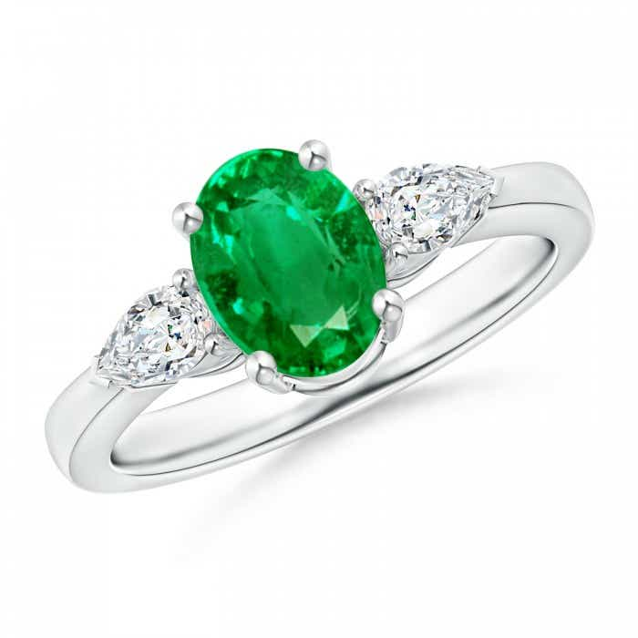 Angara Prong Oval Emerald Diamond Three Stone Engagement Ring in Platinum VQhBcyrEcy