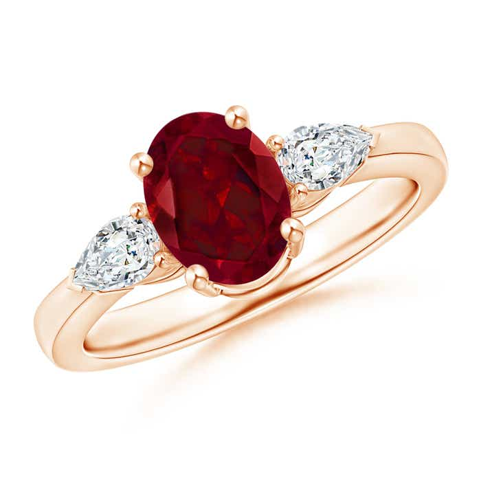 Angara Natural Garnet and Diamond Three Stone Ring in Rose Gold 8UspA2