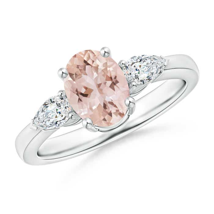 Angara Morganite Diamond Three Stone Engagement Ring in White Gold NGghLHUx