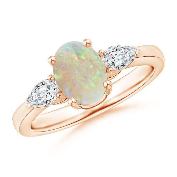 Angara Three Stone Opal and Diamond Ring in Rose Gold JCGzyusR