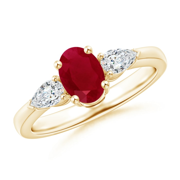 Angara Oval Ruby and Round Diamond Three Stone Wedding Ring in 14k White Gold