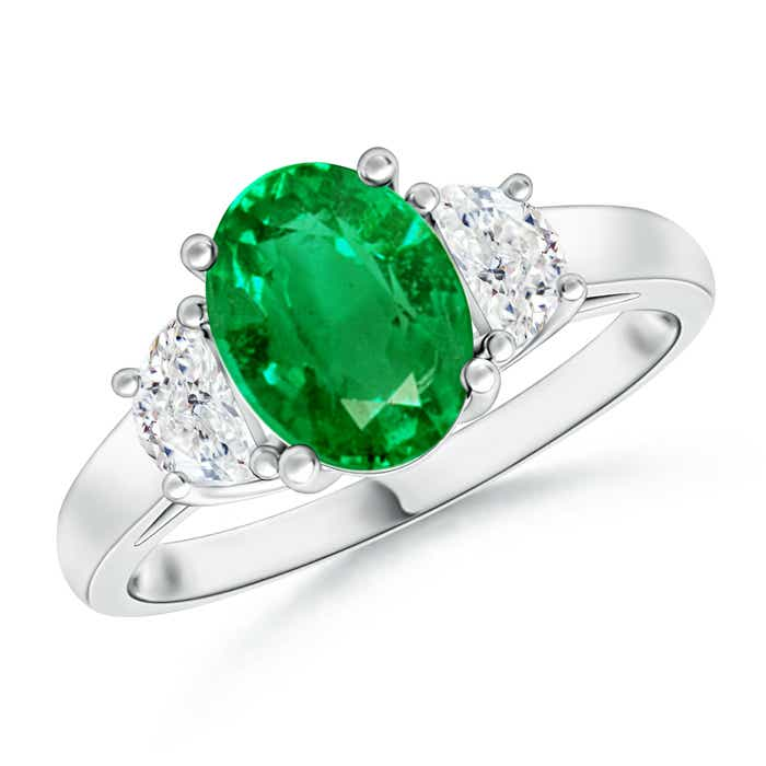 Angara Oval Emerald and Half Moon Diamond Three Stone Ring in 14k Yellow Gold evh5S