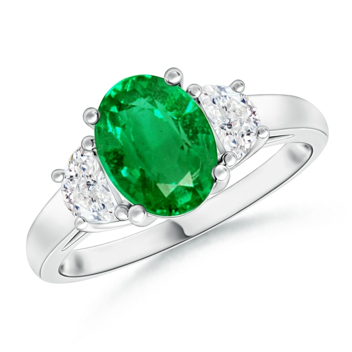 Angara Prong Set Round Emerald and Diamond Three Stone Ring in 14K Rose Gold yueTc79AL