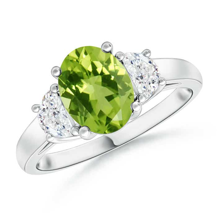 Angara Three Stone Peridot and Diamond Ring in 14k Yellow Gold ph1o5L