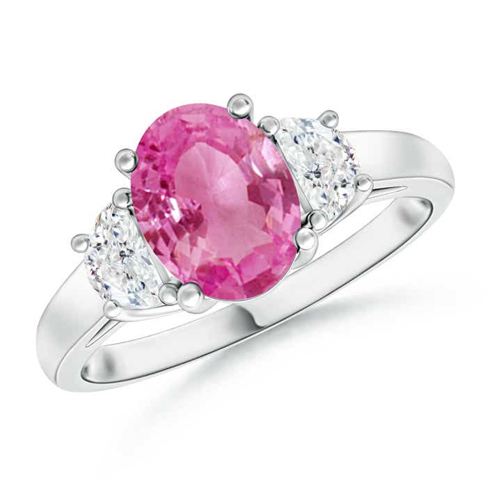Angara Oval Three Stone Pink Sapphire Engagement Ring in 14K Yellow Gold