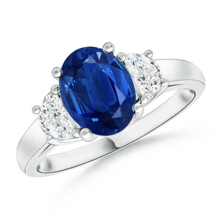 Angara Natural Blue Sapphire and Pear Diamond Three Stone Ring in Platinum
