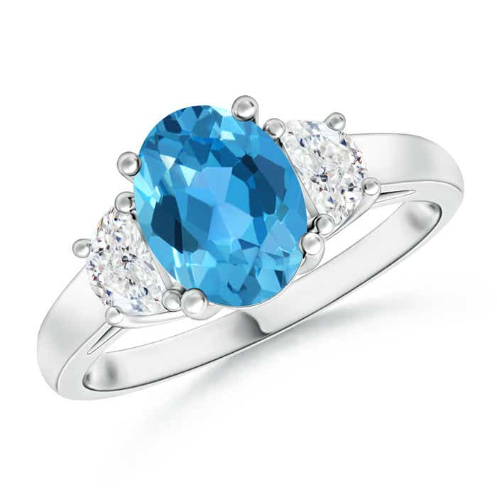 Angara Classic Prong Set Swiss Blue Topaz and Diamond Three Stone Ring