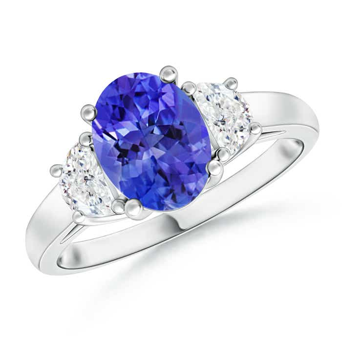 Angara Prong Set Oval Tanzanite and Round Diamond Halo Ring in 14k White Gold