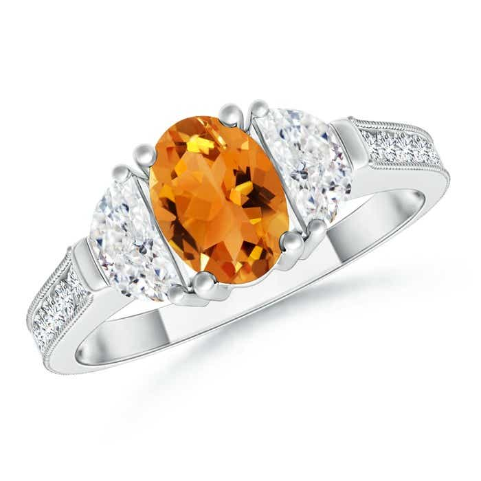 Angara Oval Citrine and Diamond Three Stone Ring in 14K White Gold