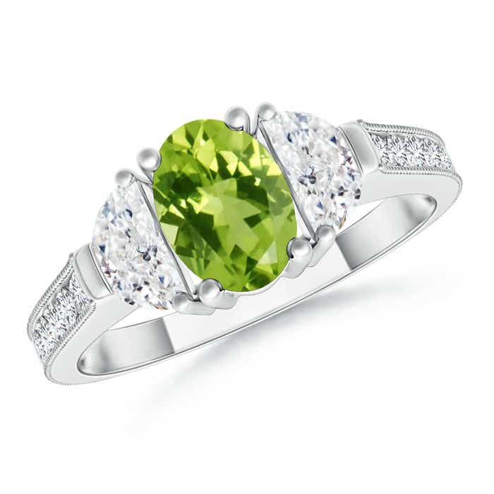 Angara Peridot and Diamond Three Stone Ring in Yellow Gold