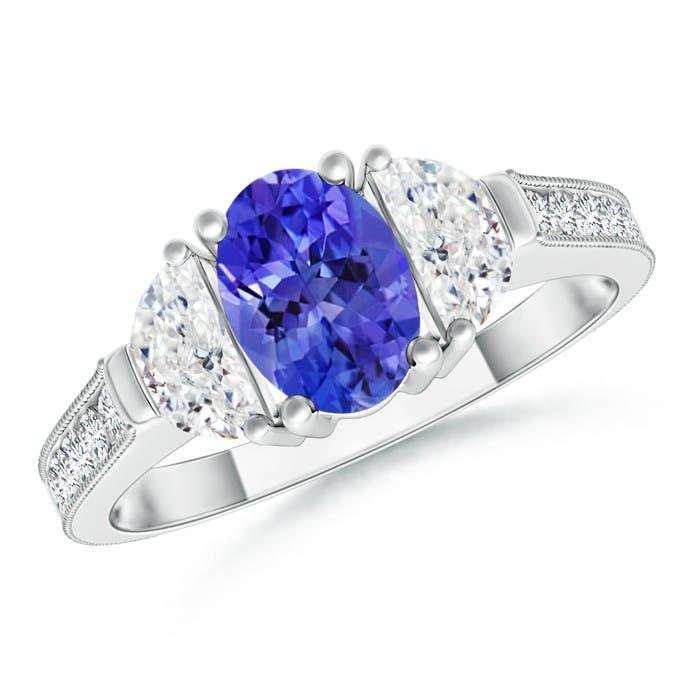 Angara Oval Tanzanite and Pear Diamond Three Stone Ring 9nJbb5KB