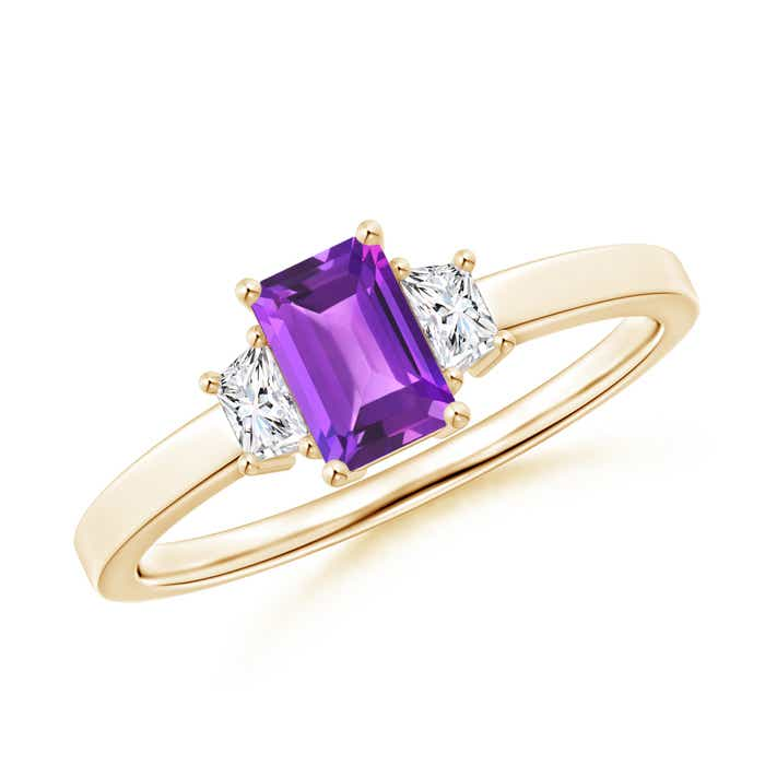 Angara Emerald-Cut Amethyst and Diamond Three Stone Ring in Yellow Gold CRSUoBNZ