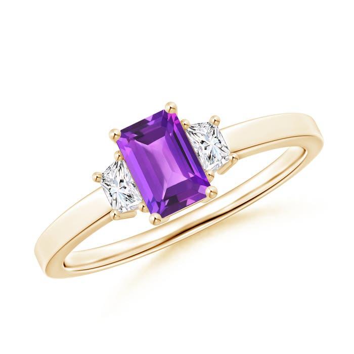Angara Emerald-Cut Amethyst and Trapezoid Diamond Three Stone Ring IPZTfyj