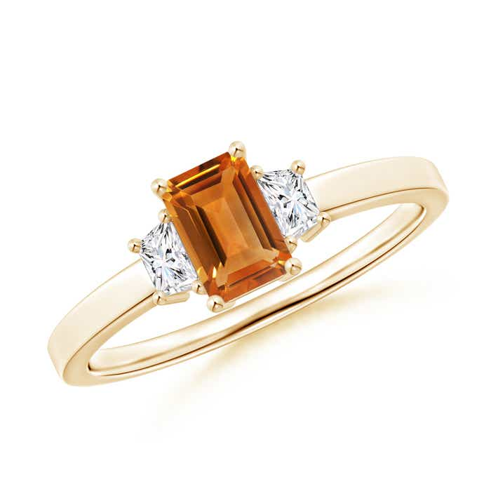 Angara Diamond and Citrine Three Stone Ring in Rose Gold